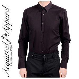 Hugo Boss Mens Button Up Black Stripe Dress Shirt